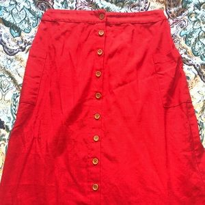 Ruby red vintage button up skirt.